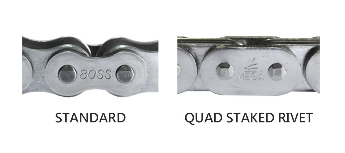 Quad staked rivet and standard rivet